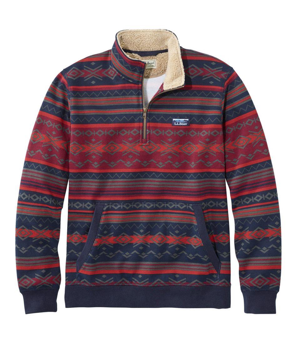 Men's Sherpa Collar Quarter-Zip Sweatshirt, Print