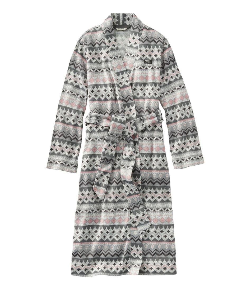 Women's Lightweight Sweater Fleece Wrap Robe, Fair Isle