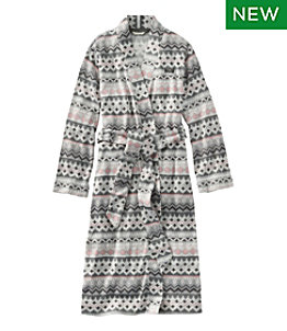 Women's Lightweight Sweater Fleece Wrap Robe, Fair Isle