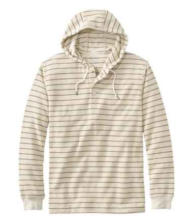 Men's Unshrinkable Mini-Waffle Henley Hoodie, Traditional Fit, Stripe