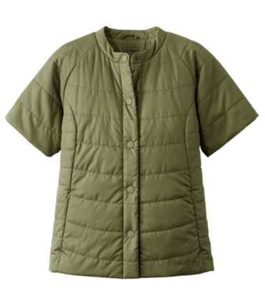 Women's Collarless Short Sleeve Puffer