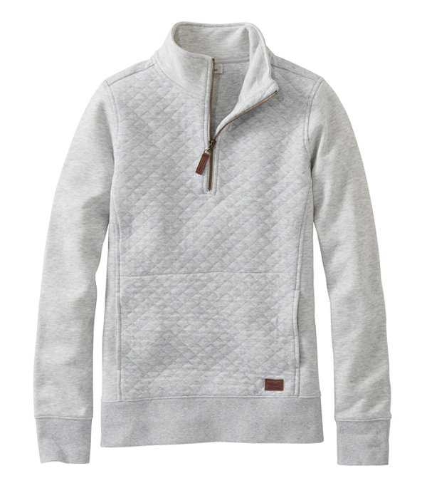 Quilted Sweatshirt Quarter-Zip Pullover, Light Gray Heather, large image number 0