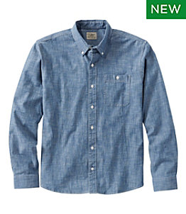 Men's Comfort Stretch Chambray Shirt, Traditional Untucked Fit, Long-Sleeve