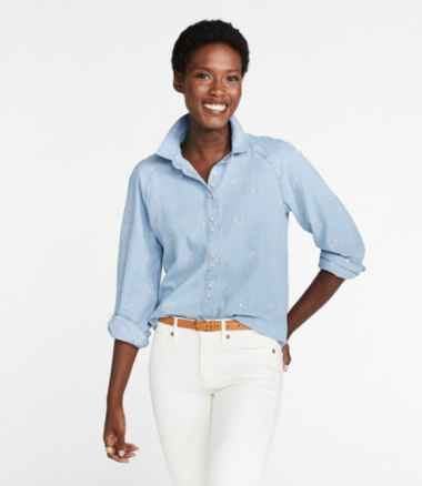 Women's Signature Denim Shirt, Embroidery