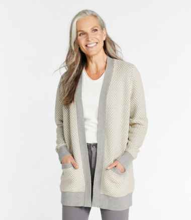 Women's Organic Cotton Sweater, Open Cardigan