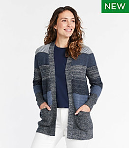 Women's Organic Cotton Sweater, Open Cardigan Stripe