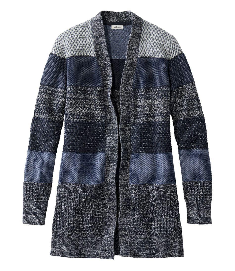 Women's Organic Cotton Sweater, Open Cardigan Stripe