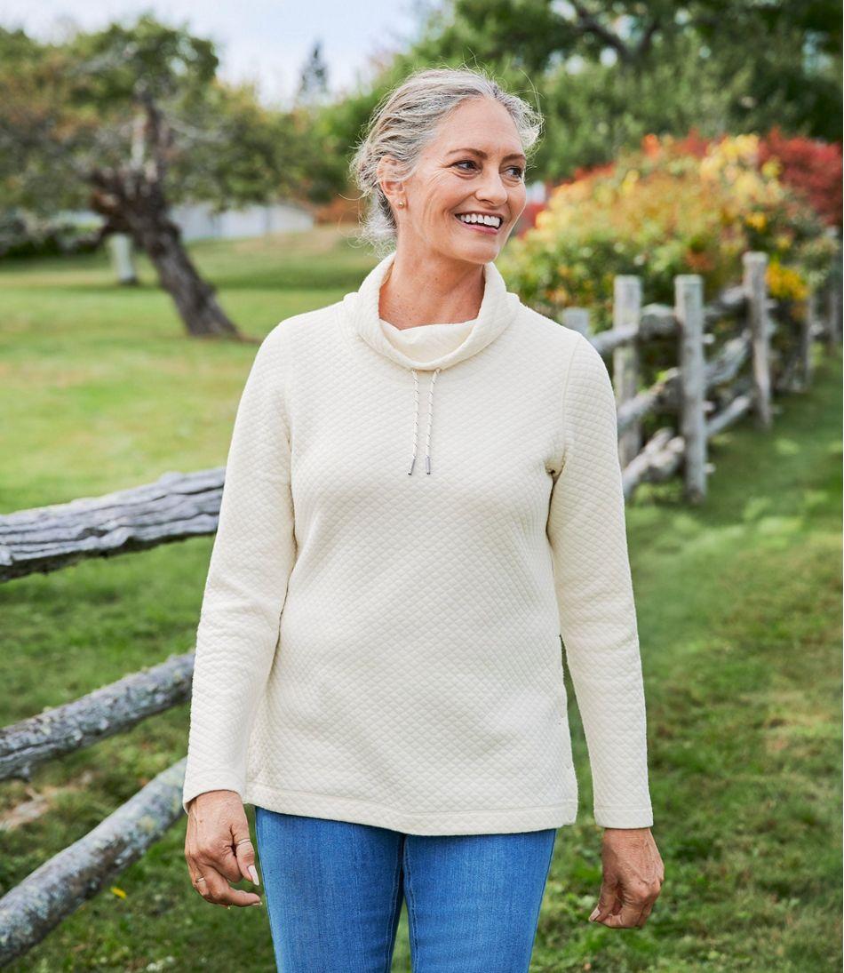 Women's SoftLight Quilted Top, Funnelneck Pullover