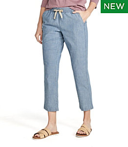 Women's Lakewashed Pull-On Chinos, Chambray Ankle Pants