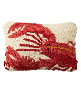 """Wool Hooked Throw Pillow, Lobster, 8"""" x 12"""""""