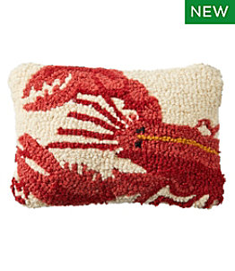 "Wool Hooked Throw Pillow, Lobster, 8"" x 12"""