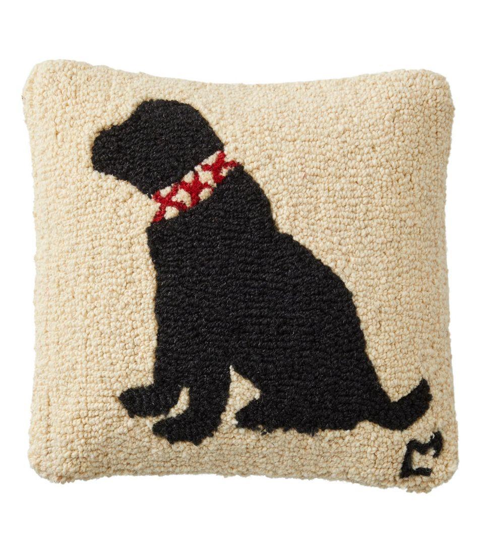 "Wool Hooked Throw Pillow, Black Lab, 14"" x14"""