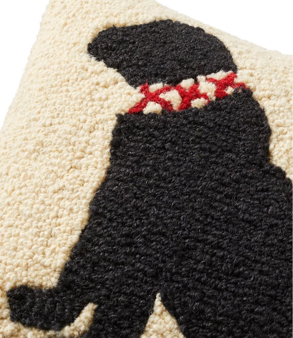 "Wool Hooked Throw Pillow, Black Lab, 14"" x14"""