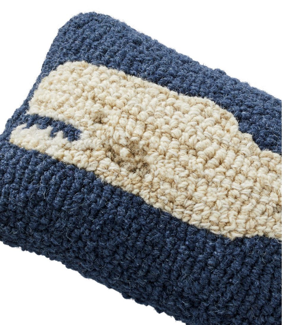 """Wool Hooked Throw Pillow, Whale, 8"""" x 12"""""""