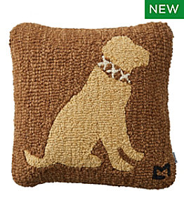 "Wool Hooked Throw Pillow, Yellow Lab, 14"" x 14"""