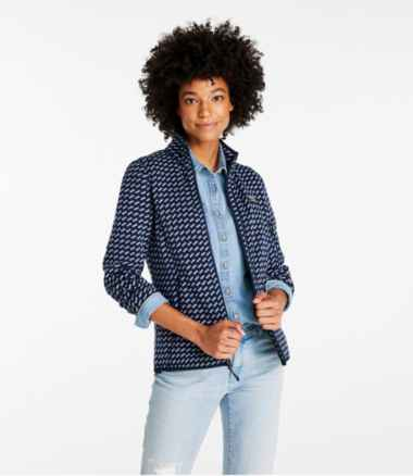 Women's L.L.Bean Sweater Fleece Full-Zip Jacket, Print
