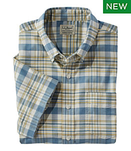 Men's Comfort Stretch Oxford, Slightly Fitted, Short-Sleeve, Plaid