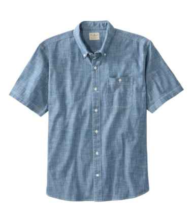 Men's Comfort Stretch Chambray Shirt, Traditional Fit, Short-Sleeve