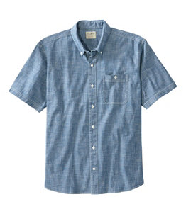Men's Comfort Stretch Chambray Shirt, Traditional Untucked Fit, Short-Sleeve