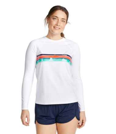 Women's ReNew Swimwear, Crewneck Rash Guard Graphic