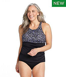 Women's BeanSport Swimwear, High-Neck Tankini Colorblock