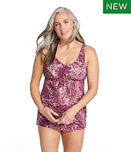 Women's Slimming Swimwear, Soft-Drape Tankini Print