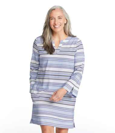 Women's Bean's Stretch Swim Cover-Up Splitneck Tunic, Stripe