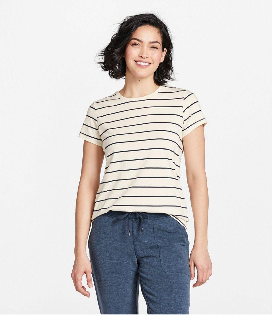 Women's Soft Stretch Supima Tee, Crewneck Short-Sleeve Striped
