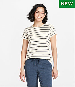 Women's Soft Stretch Supima Tee, Crewneck Short-Sleeve Striped