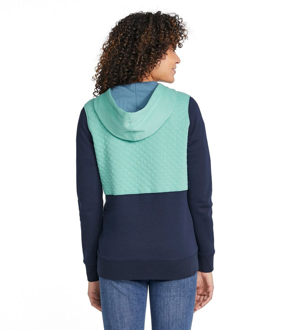 Women's Quilted Sweatshirt, Hooded Pullover Colorblock