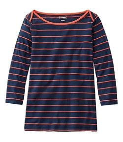 Women's Soft Stretch Supima Tee, Three-Quarter-Sleeve Boatneck Stripe