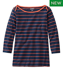 Women's Soft Stretch Supima Tee, Three-Quarter-Sleeve Boatneck Stripe