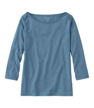 Women's Soft Stretch Supima Tee, Three-Quarter-Sleeve Boatneck