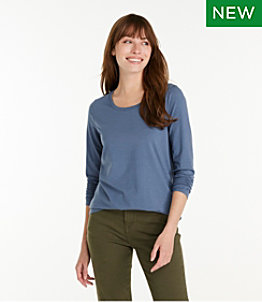 Women's Soft Stretch Supima Tee, Scoopneck Long-Sleeve