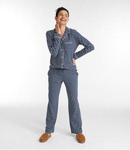 Women's Super-Soft Shrink-Free Button Front Pajama Set, Stripe
