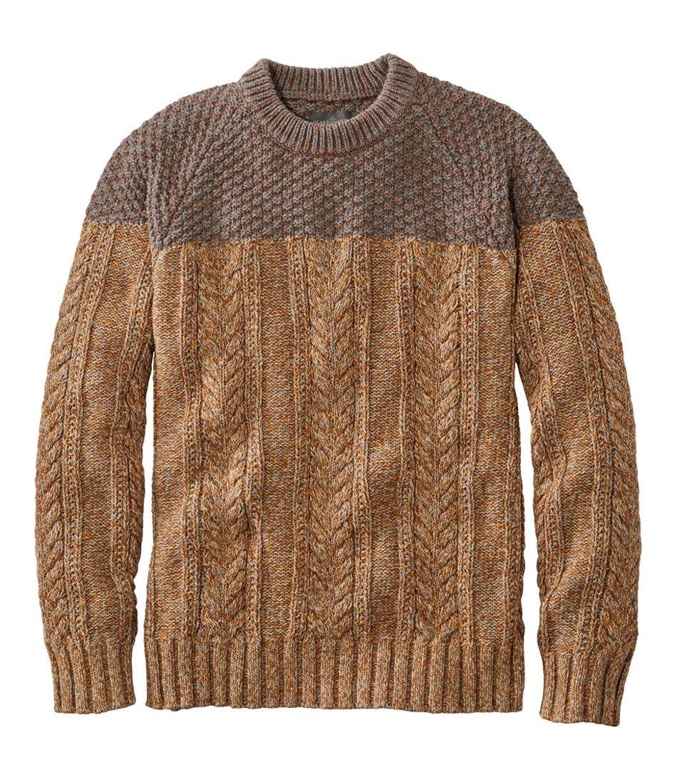Men's Cotton Fisherman Crewneck Sweater, Colorblock