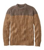 Men's Cotton Fisherman Crewneck Sweater, Colorblock