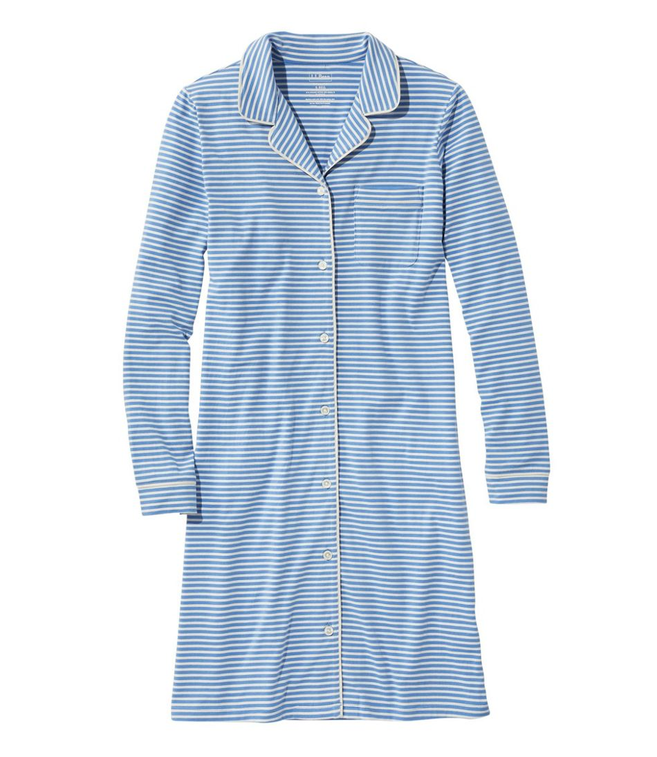 Women's Super-Soft Shrink-Free Button-Front Nightgown, Stripe