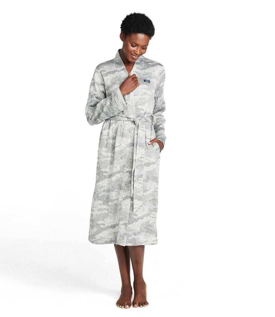 Women's Lightweight Sweater Fleece Wrap Robe, Print
