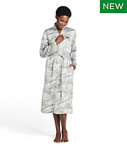 Women's Lightweight Sweater Fleece Wrap Robe, Print