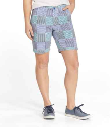Women's Lakewashed Chino Shorts, Bermuda Seersucker Patchwork