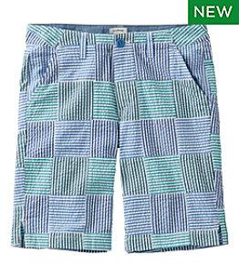Women's Lakewashed Chino Shorts, Bermuda Seersucker Patchwork