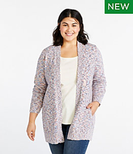 Women's Cotton Ragg Sweater, Open Cardigan Space-Dye