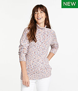 Women's Cotton Ragg Sweater, Funnelneck Pullover Space-Dye