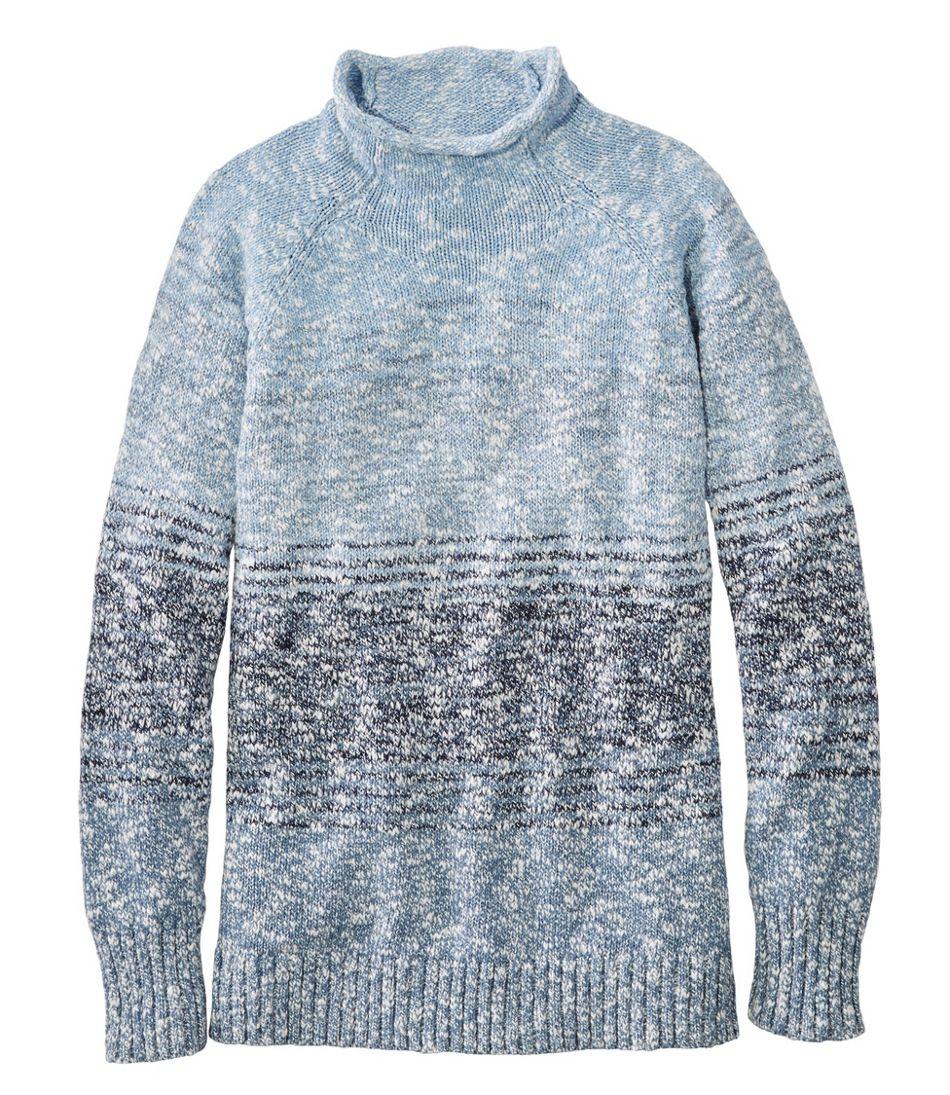 Women's Cotton Ragg Sweater, Funnelneck Pullover Space-Dye