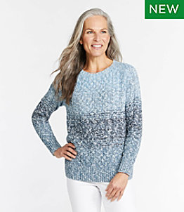 Women's Cotton Ragg Sweater, Crewneck Space-Dye