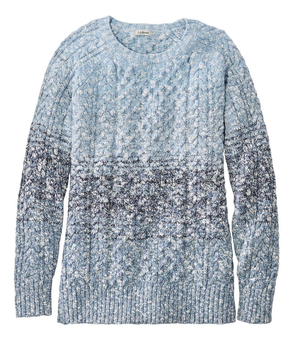 Women's Cotton Ragg Sweater, Crewneck Space-Dye