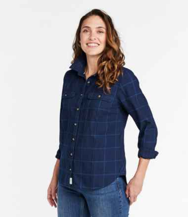 Women's L.L. Bean Heritage Washed Denim Shirt, Long-Sleeve Window Pane