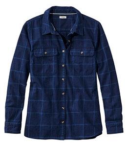 Women's L.L. Bean Heritage Washed Denim Shirt, Long-Sleeve Window Pane