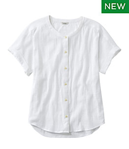 Women's Soft Organic Cotton Crinkle Shirt, Short Sleeve